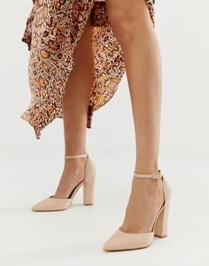 Бежевые туфли-лодочки на блочном каблуке с ремешком на щиколотке ALDO Nicholes-Розовый