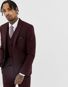 Бордовый облегающий пиджак из донегаля Harry Brown-Красный