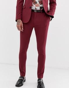 Бордовые супероблегающие брюки под смокинг ASOS DESIGN-Красный