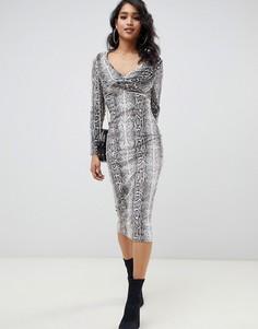Бархатное платье миди с узором змеиной кожи ASOS DESIGN-Мульти
