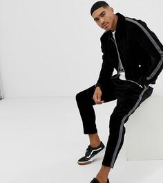 Черная вельветовая куртка Харрингтон с полосками по бокам Mauvais-Черный
