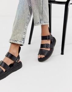 Черные кожаные сандалии Dr Martens Gryphon-Черный