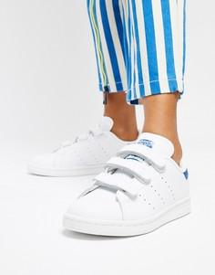 Белые кроссовки на липучках с синими вставками adidas Originals Stan Smith-Белый