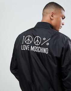 Бомбер с вышивкой на спине Love Moschino-Черный