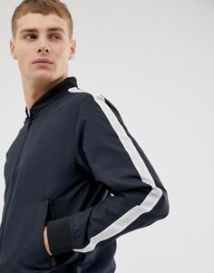 Бейсбольная куртка с полосками на рукавах French Connection-Темно-синий