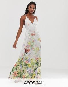 Атласное трапециевидное платье макси на бретельках с цветочным принтом ASOS DESIGN Tall-Мульти