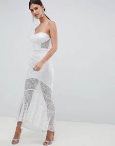 Кружевное платье макси бандо C By Cubic-Белый