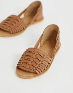 Плетеные кожаные сандалии ASOS DESIGN Fran-Светло-коричневый