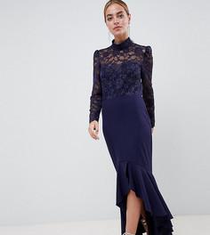 Платье макси с кружевным топом, длинными рукавами и оборкой City Goddess Petite-Темно-синий