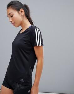 Черная футболка с тремя полосками adidas Running-Черный