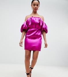 Платье-бандо мини с пышной отделкой ASOS DESIGN Petite-Розовый