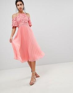 Платье миди с кружевом и юбкой плиссе ASOS DESIGN-Розовый
