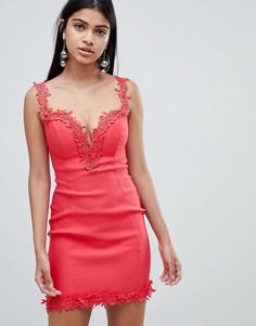 Платье с кружевной отделкой Rare London-Мульти