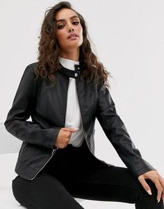 Куртка без воротника из искусственной кожи Vila-Черный