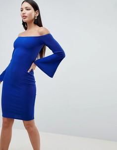 Платье миди с рукавами клеш AX Paris-Синий