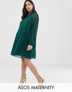 Платье-трапеция с плиссировкой и завязкой на вороте ASOS DESIGN Maternity-Зеленый