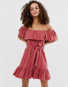 Сарафан с вышивкой ришелье и поясом ASOS DESIGN-Розовый