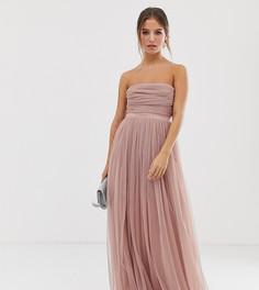 Тюлевое платье-бандо макси с атласной отделкой Anaya With Love-Розовый