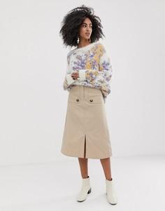 Саржевая юбка миди с декоративными клапанами ASOS WHITE-Бежевый