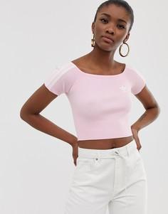 Розовая футболка с открытыми плечами adidas Originals-Розовый
