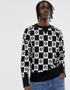 Черно-белый свитшот в шахматную клетку с длинными рукавами Kings of Indigo-Черный