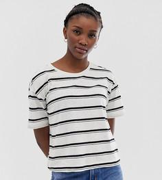 Черно-белая футболка в полоску Weekday-Кремовый