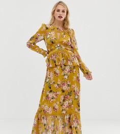 Платье макси с кружевной отделкой и цветочным принтом Forever New-Мульти