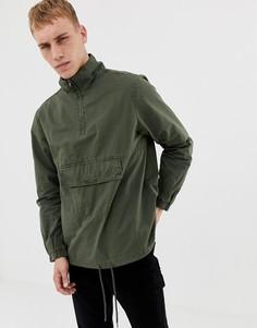 Oversize-куртка в стиле милитари с капюшоном без застежки Another Influence-Зеленый