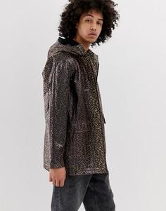 Прозрачная куртка на молнии с леопардовым принтом ASOS DESIGN-Коричневый