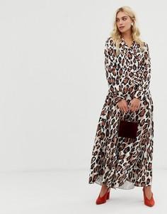 Платье с леопардовым принтом и V-образным вырезом Zibi London-Мульти