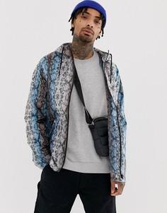 Куртка со змеиным принтом ASOS DESIGN-Синий