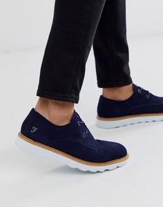 Темно-синие замшевые туфли на шнуровке Farah-Темно-синий