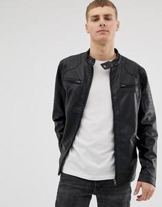 Байкерская куртка из искусственной кожи с карманами French Connection-Черный
