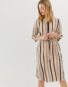 Платье-рубашка в полоску Selected Femme-Мульти