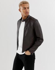 Коричневая кожаная байкерская куртка ASOS DESIGN-Коричневый