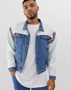 Джинсовая oversize-куртка с полосками Liquor N Poker-Синий
