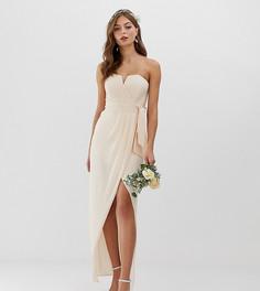 Эксклюзивное розовое платье-бандо мидакси с плиссировкой и запахом TFNC bridesmaid-Розовый