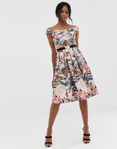 Платье миди с открытыми плечами, принтом и поясом Little Mistress-Мульти