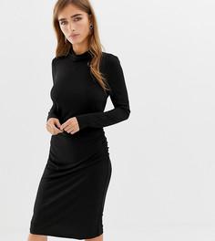 Черное облегающее платье с отворачивающимся воротом Vero Moda Petite-Черный