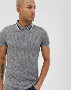Удлиненная футболка-поло в рубчик с контрастной отделкой ASOS DESIGN-Серый