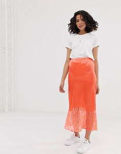 Оранжевая атласная юбка миди с кружевной отделкой ASOS DESIGN-Оранжевый