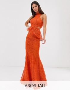 Платье макси с годе, вырезами и кружевной отделкой ASOS DESIGN Tall-Красный