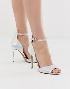Босоножки на каблуке с переливающимися пайетками и эффектом металлик Head Over Heels-Мульти