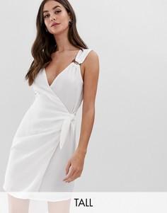 Платье с запахом и деревянным кольцом Fashion Union Tall-Белый
