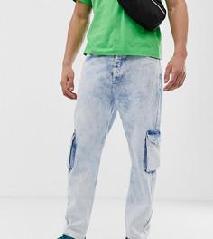 Выбеленные джинсы с большими карманами COLLUSION x003-Синий