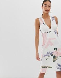 Облегающее платье миди с цветочным принтом AX Paris-Кремовый
