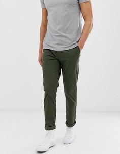 Облегающие чиносы прямого кроя цвета хаки Selected Homme-Зеленый