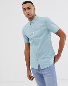 Бирюзовая оксфордская рубашка узкого кроя с короткими рукавами Farah Brewer-Синий