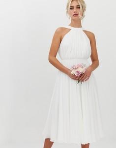 Свадебное платье миди с халтером и V-образным вырезом на спине ASOS EDITION-Белый
