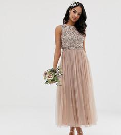 Розовое платье макси из тюля с однотонными пайетками Maya Bridesmaid-Коричневый